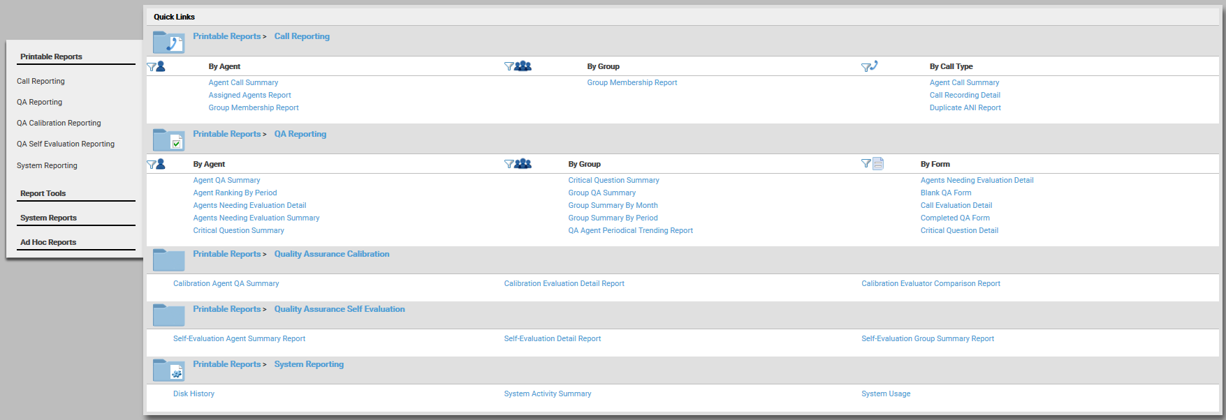 Printable Reports Page