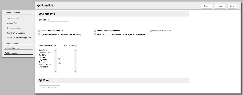 Page Details: QA Form Editor